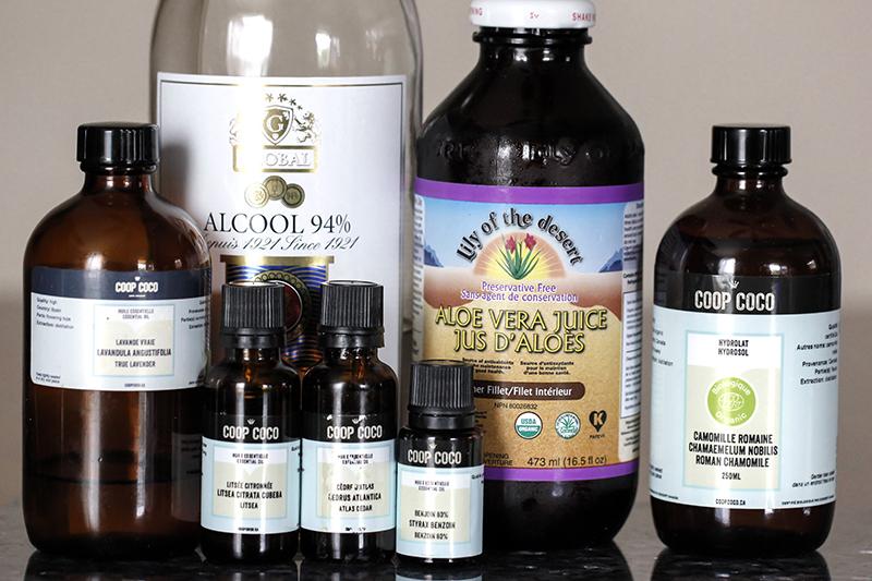 Ingrédients pour après-rasage