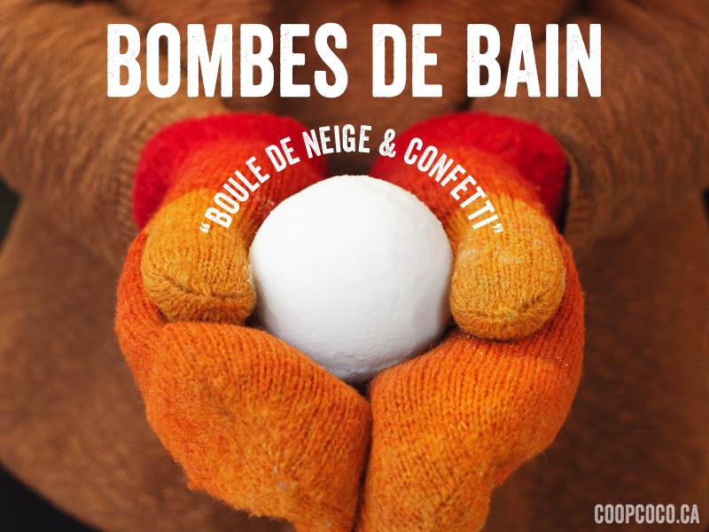 "Bombe de bain ""Boule de neige et confetti"""