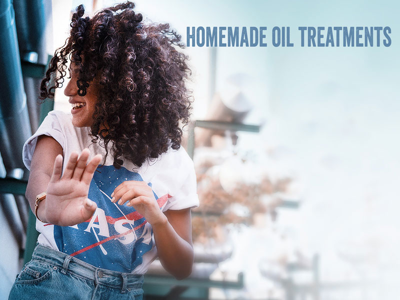 making hair treatment with oil